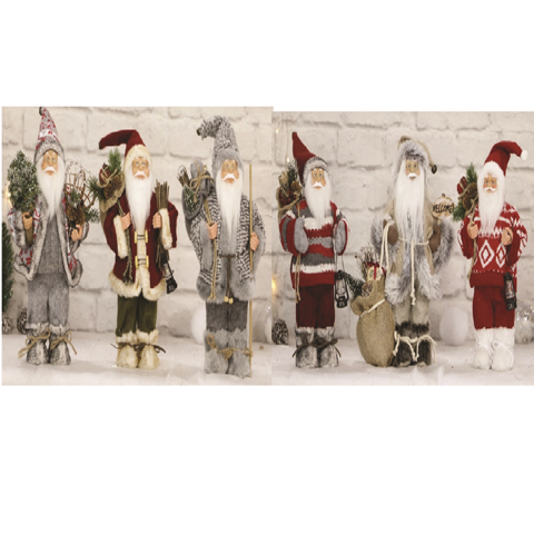 SANTA VINTAGE FIGURINES DELUXE 30cm 6asst Uncle Bills XB4238