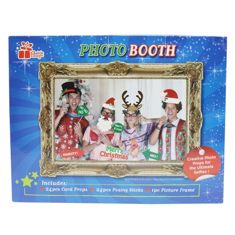 PHOTOBOOTH XMAS FRAME W/PROPS 25pc Uncle Bills XB4397