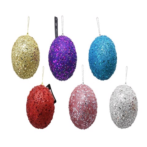 DECO SEQUIN BAUBLE 6 COLS 10cm Uncle Bills XB4543