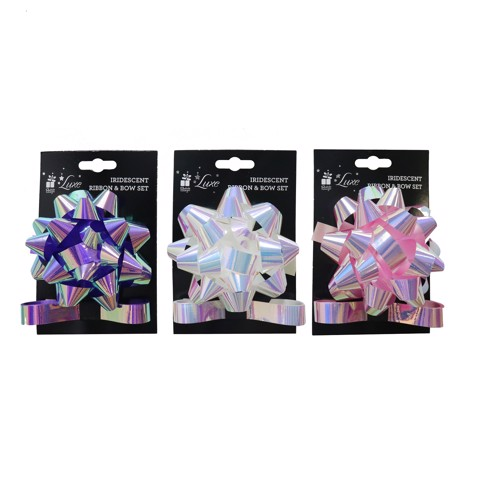 GIFT BOW & RIBBON IRIDESCENT 2m 3asst Uncle Bills XB4603