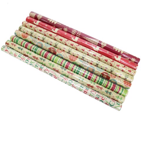 WRAPPING PAPER KRAFT PRINTED 70cm x 4m 8asst Uncle Bills XB4626