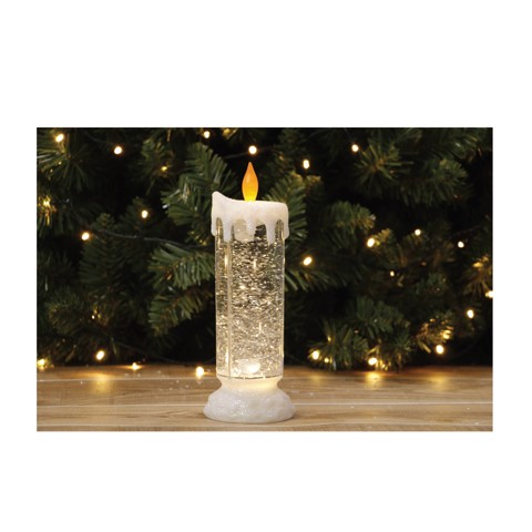 CANDLE LED SWIRLING GLITTER 24cm WARM Uncle Bills XB4845