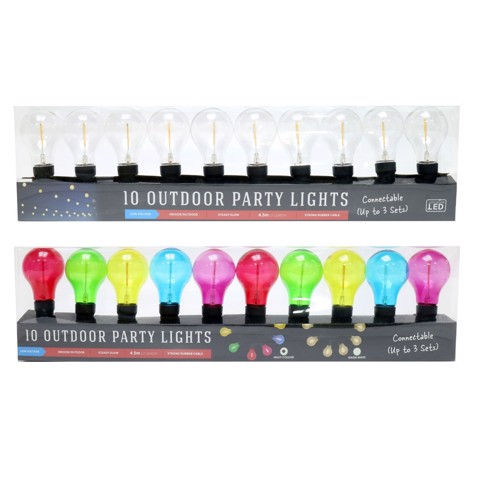 LED FESTOON PARTY LIGHTS 10pc 2asst Uncle Bills XL0022