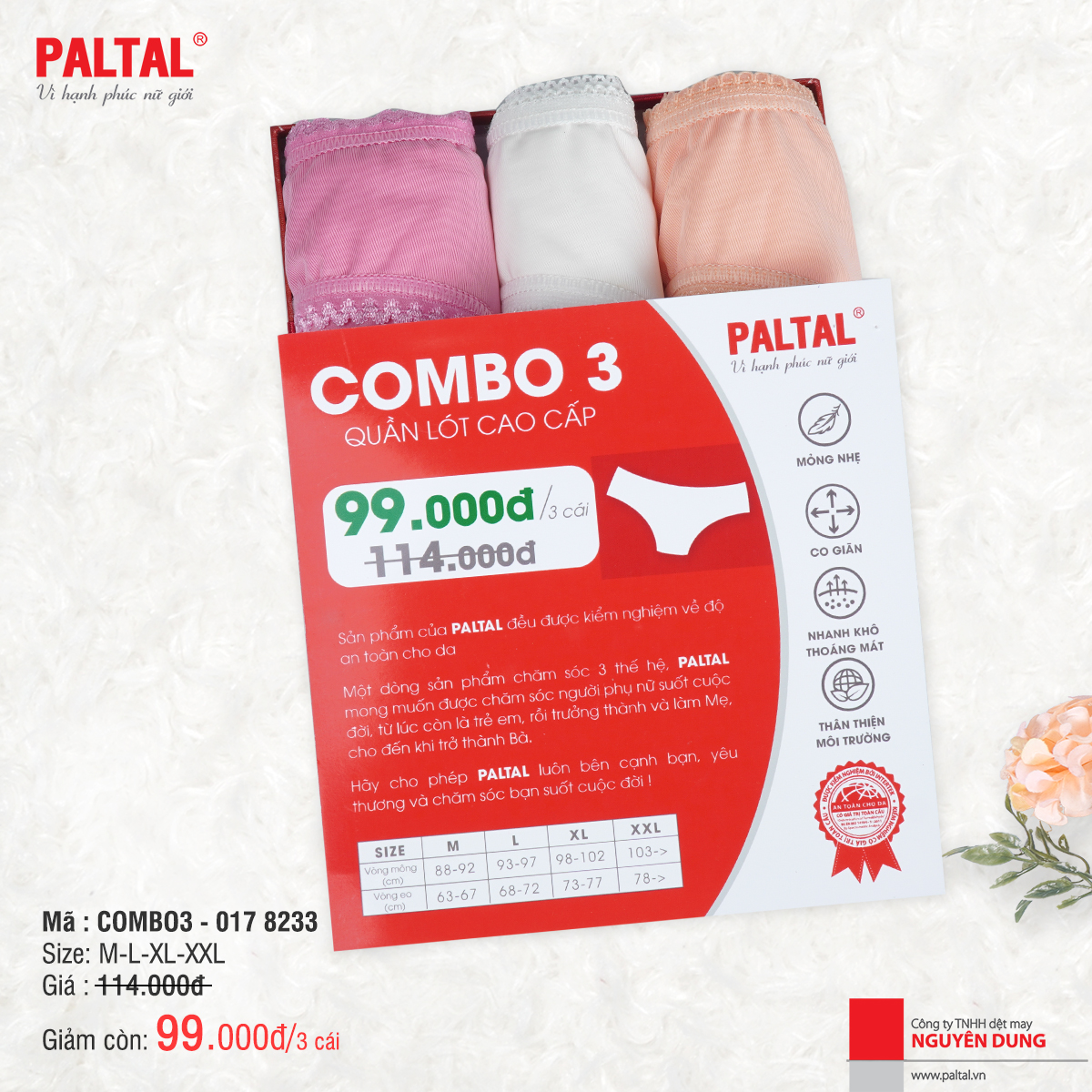 COMBO 3 QUẦN LÓT CAO CẤP PALTAL QL 017P 8233