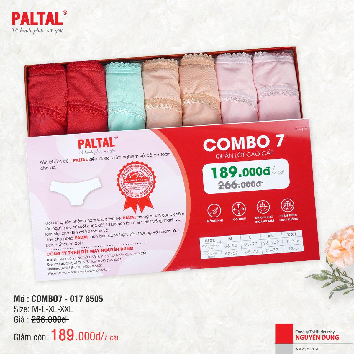 Combo 7 quần lót cao cấp paltal ql 017p 8505