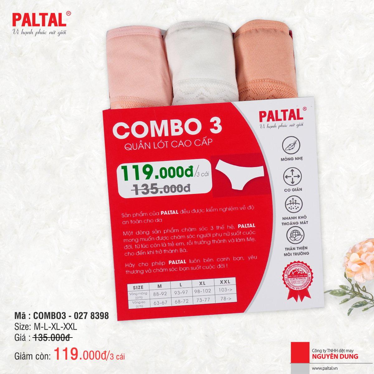COMBO 3 QUẦN LÓT CAO CẤP PALTAL QL 027P 8398