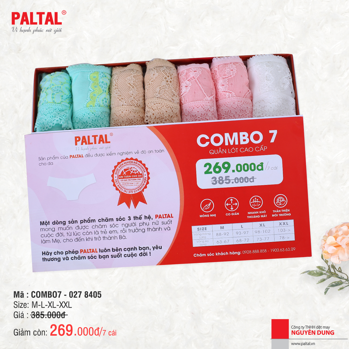 Combo 7 quần lót cao cấp paltal ql 027p 8405