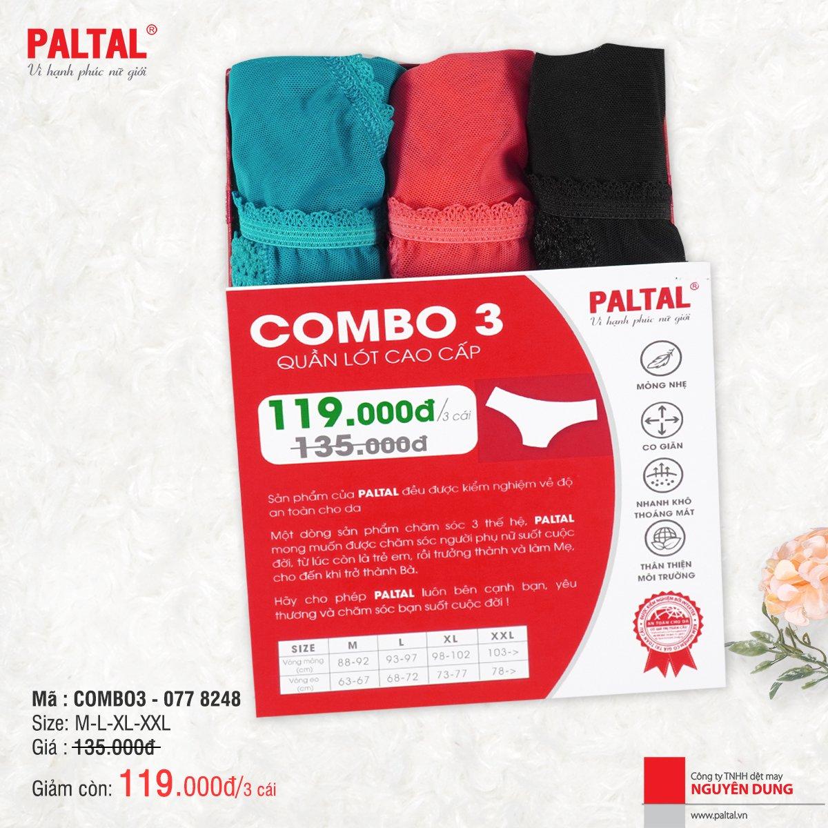 COMBO 3 QUẦN LÓT CAO CẤP PALTAL QL 077P 8248