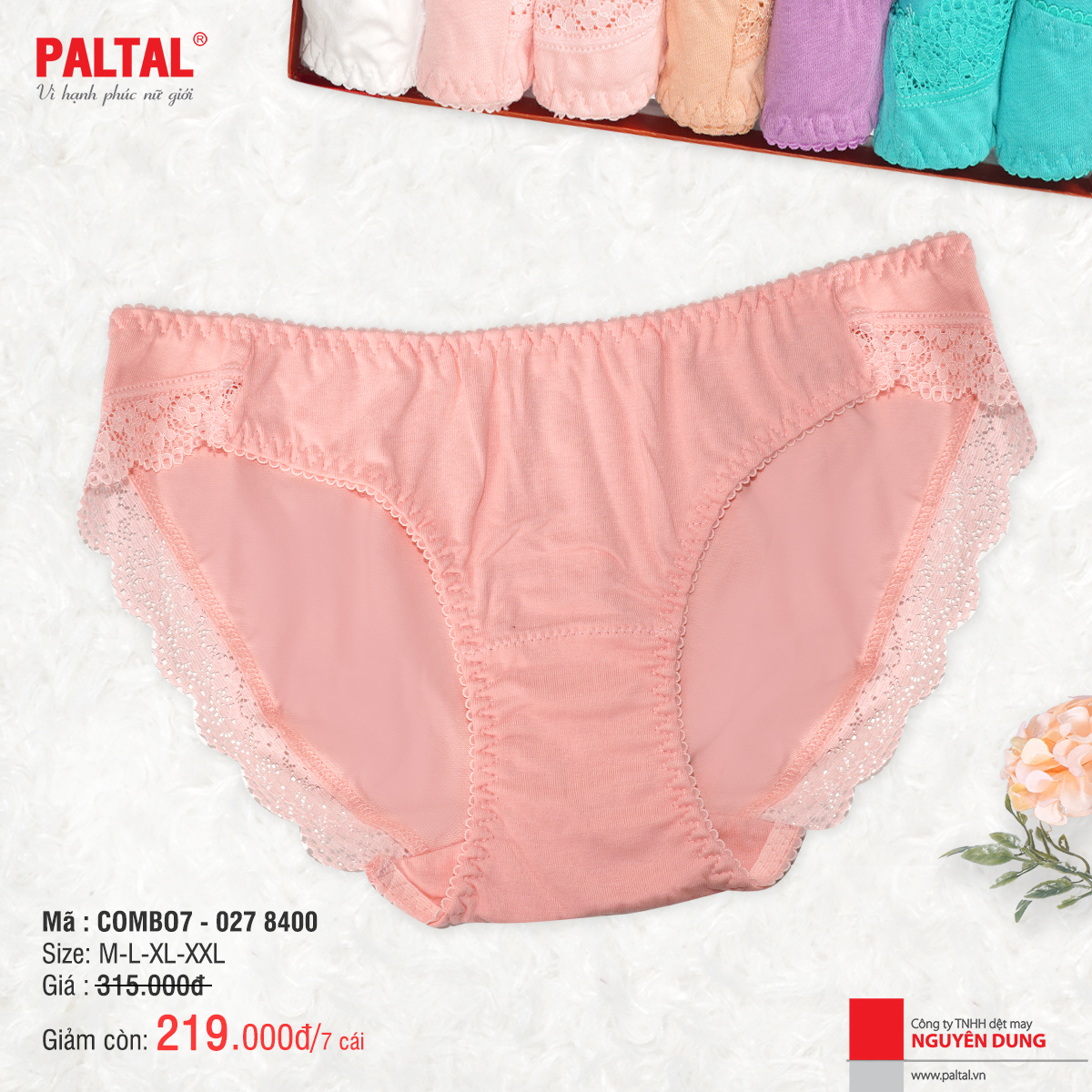 COMBO 7 QUẦN LÓT CAO CẤP PALTAL QL 027P 8400