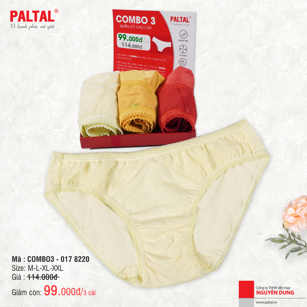 Combo 3 quần lót cao cấp paltal ql 017p 8220