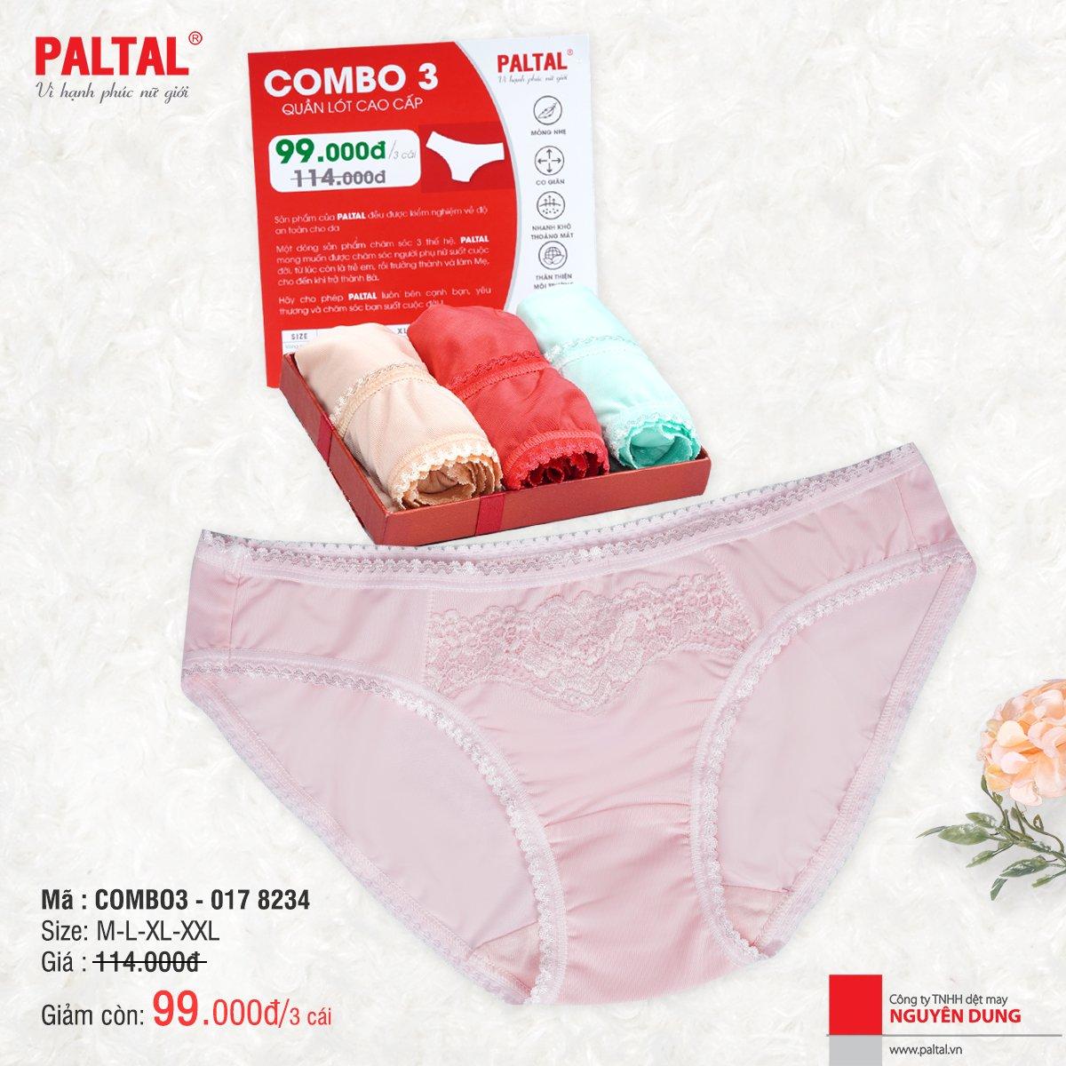 Combo 3 quần lót cao cấp paltal ql 017p 8234