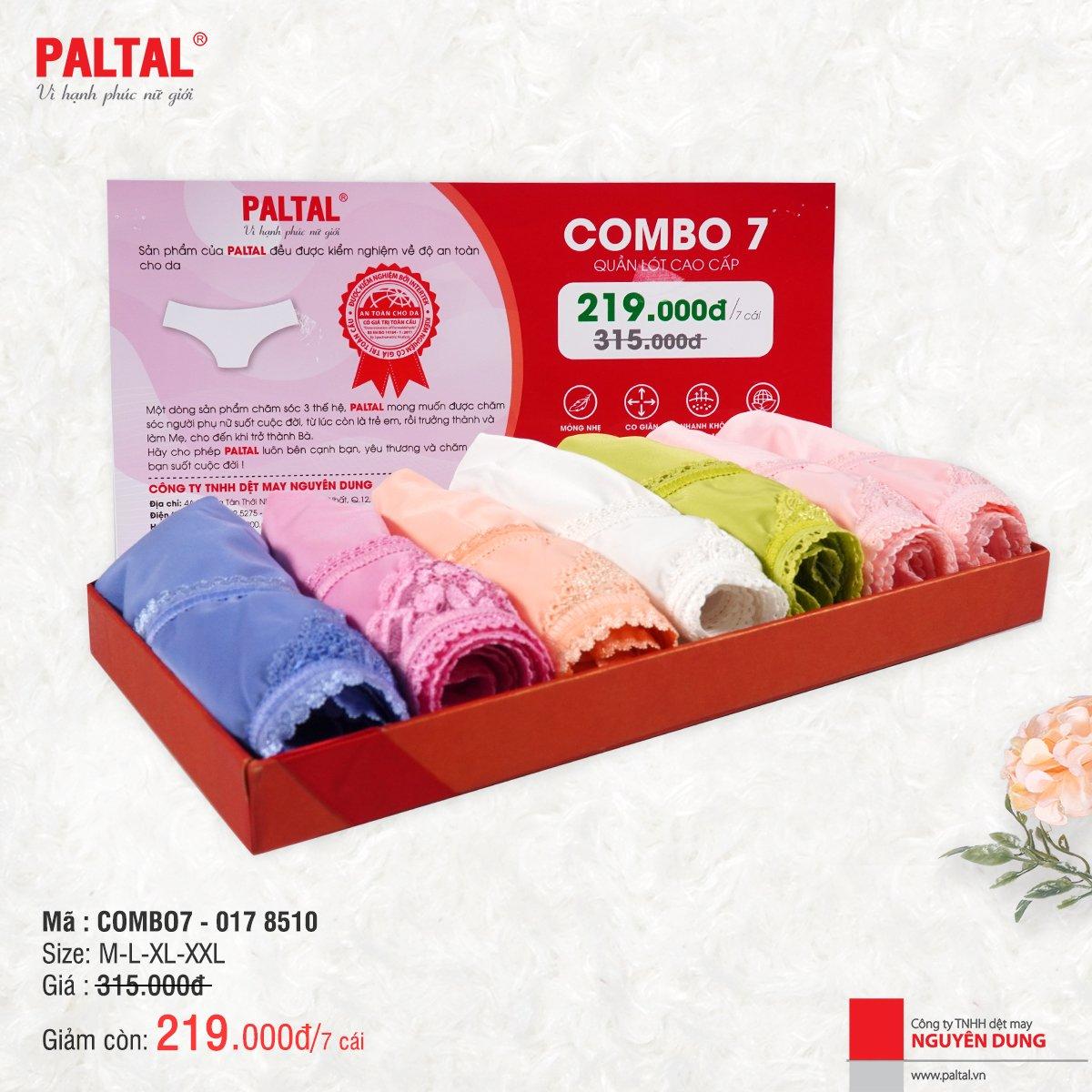 Combo 7 quần lót cao cấp paltal ql 017p 8510