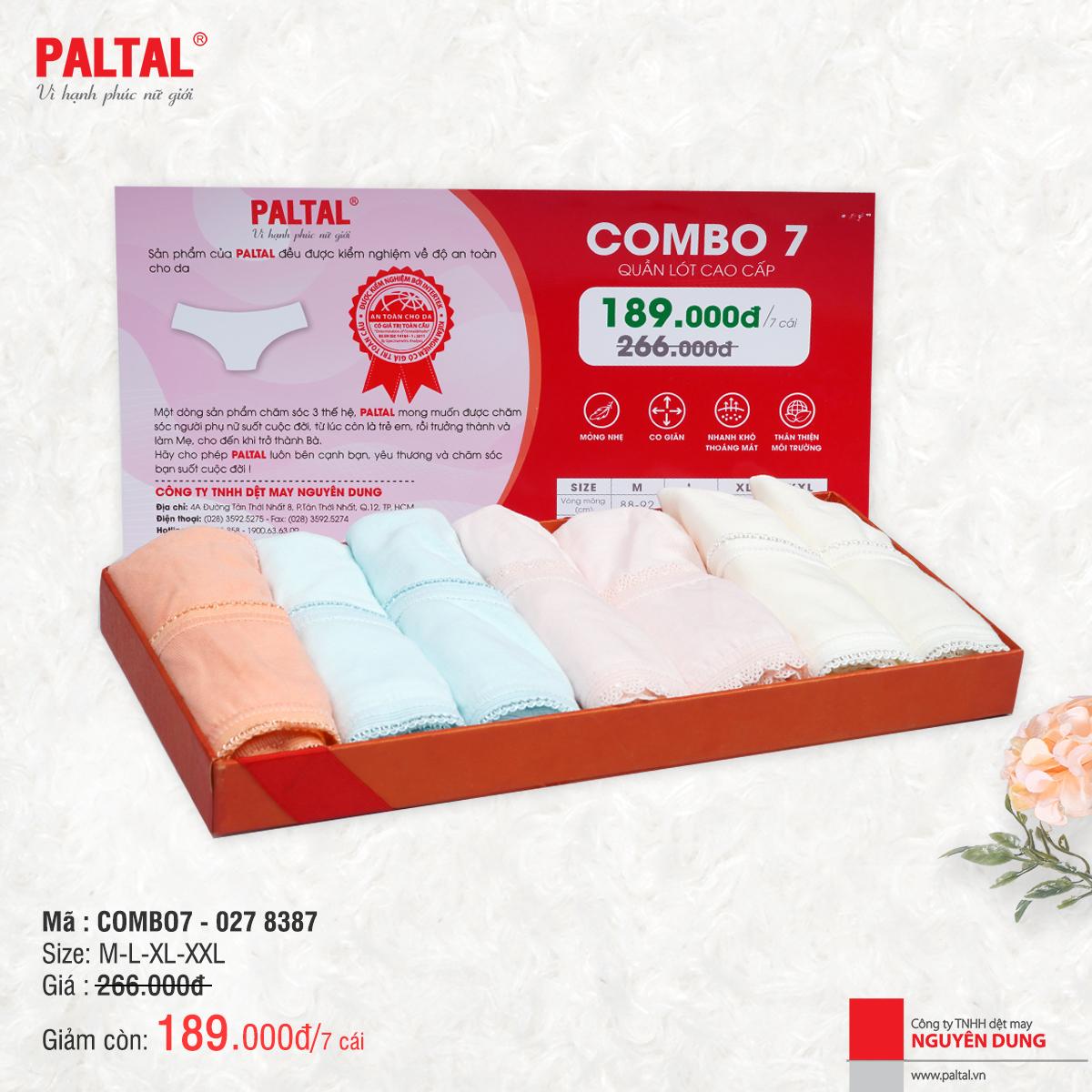 Combo 7 quần lót cao cấp paltal ql 027p 8387