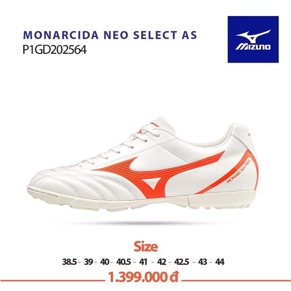 MIZUNO MONARCIDA NEO SELECT AS TF WHITE/ORANGE