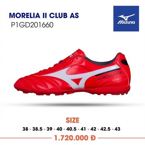 MIZUNO MORELIA II CLUB AS TF - IGNITION RED/WHITE