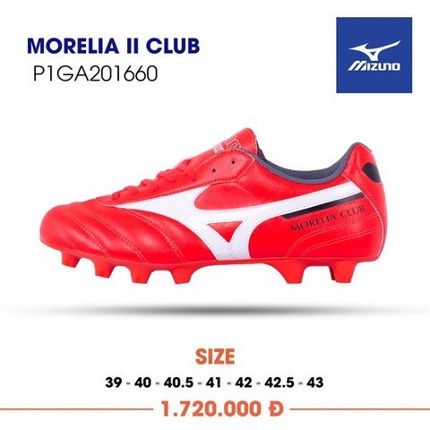 MIZUNO MORELIA II CLUB FG - IGNITION RED/WHITE