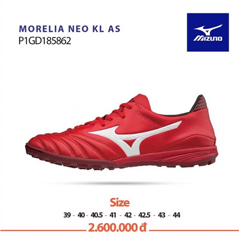 MIZUNO MORELIA NEO KL AS TF RED PASSION PACK - RED/WHITE