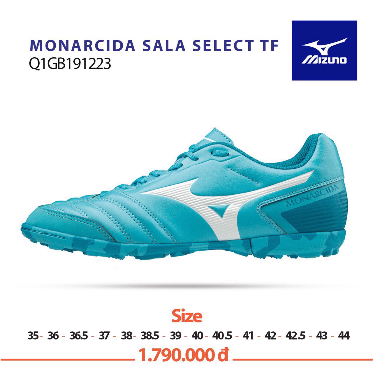 MIZUNO MONARCIDA SALA SELECT TF LIGHT BLUE/WHITE/LIGHT BLUE