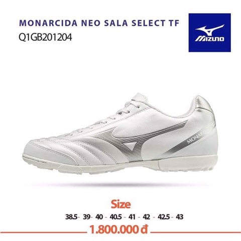 MIZUNO MONARCIDA SALA SELECT TF WHITE/SILVER