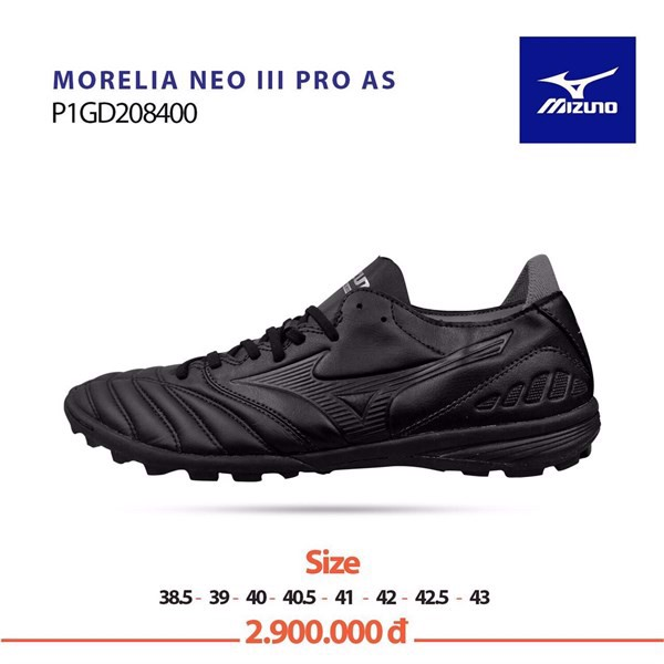 Mizuno Morelia Neo III Pro AS TF Reborn Revolution - Black/Black