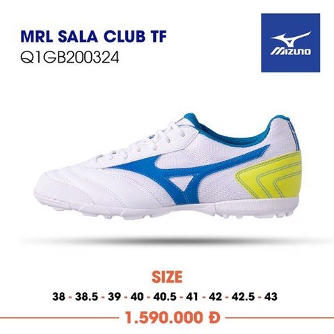 MIZUNO MORELIA SALA CLUB TF WHITE/BLUE/YELLOW