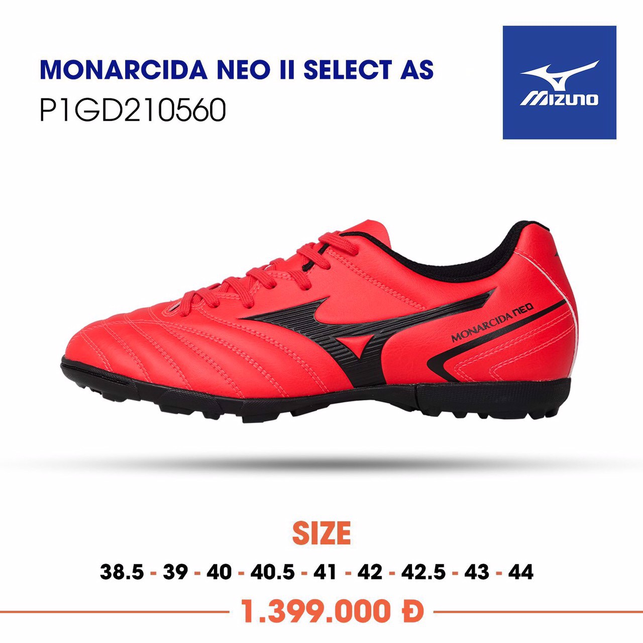 MIZUNO MONARCIDA NEO II SELECT AS TF RED/BLACK