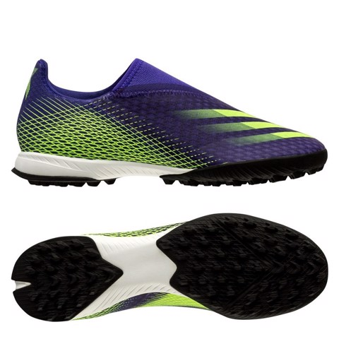 adidas X Ghosted .3 Laceless TF Precision To Blur - Energy Ink/Signal Green