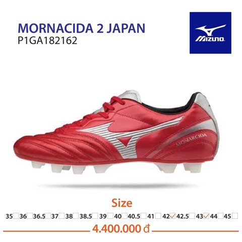 MIZUNO MONARCIDA NEO II FG MADE IN JAPAN - RED/WHITE