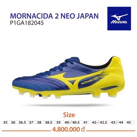 MIZUNO MONARCIDA 2 NEO FG MADE IN JAPAN - BLUE/YELLOW