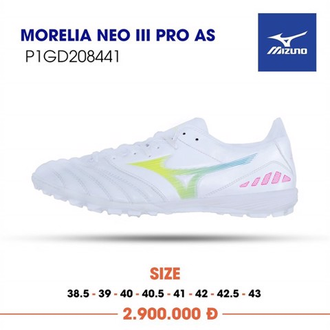 MIZUNO MORELIA NEO III PRO AS TF - White/Yellow/Pink