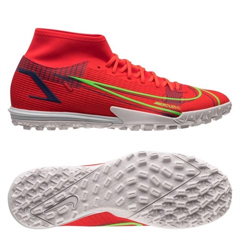 Nike Mercurial Superfly 8 Academy TF Spectrum - Bright Crimson/Metallic Silver