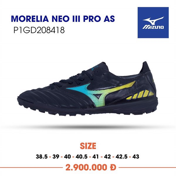MIZUNO MORELIA NEO III PRO AS TF - Black/Blue/Orange