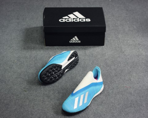 adidas X 19.3 TF Laceless Hard Wired - Bright Cyan/Silver Metallic