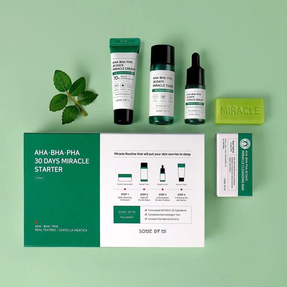 Bộ Kit 4 Sản Phẩm Dưỡng Da Ngăn Ngừa Mụn Some By Mi AHA-BHA-PHA 30 Days Miracle Starter Kit (4 Items:Cleansing Bar, Toner, Serum, Cream)