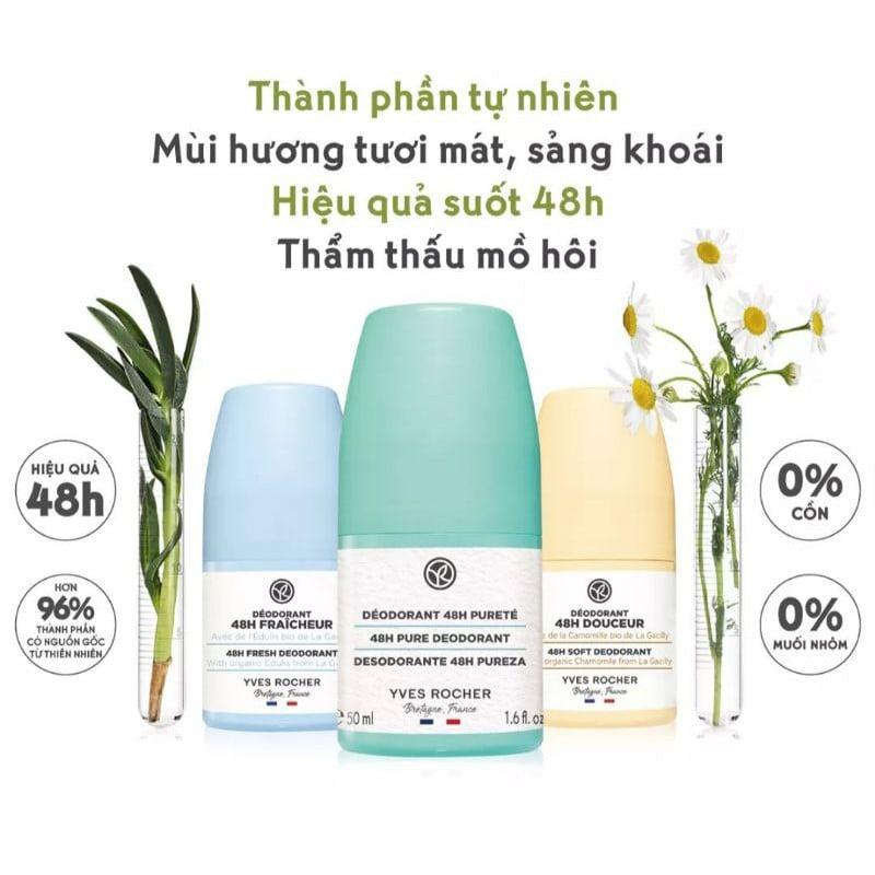Lăn Khử Mùi Hữu Cơ Hoa Cúc Dịu Nhẹ Yves Rocher 48H Gentle Deodorant 50ml