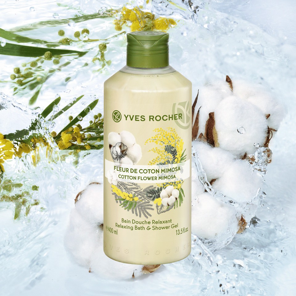 Gel Tắm Yves Rocher Cotton Flower Mimosa Relaxing Bath & Shower Gel 400ml
