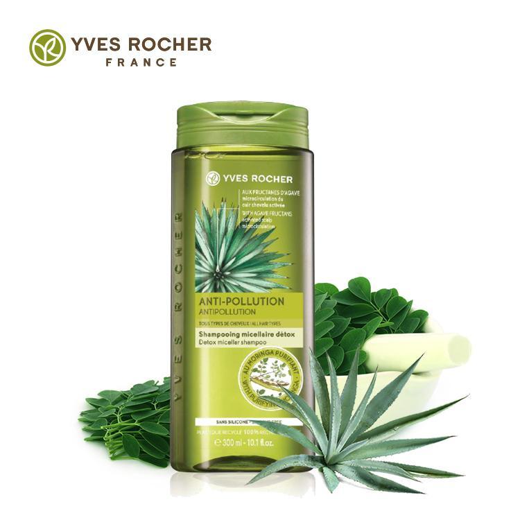 Dầu Gội Chống Ô Nhiễm Môi Trường- Thanh Lọc Tóc và Da Đầu Yves Rocher Anti Pollution Detox Micellar Shampoo 300ml