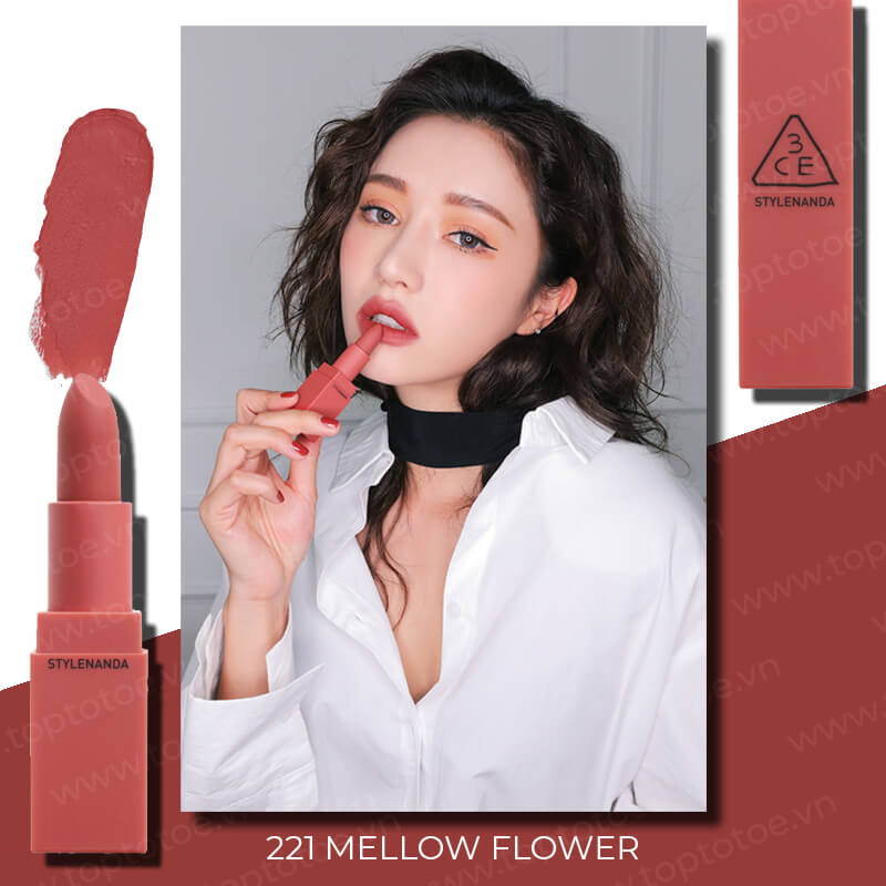 son-thoi-3ce-mood-recipe-on-off-lip-color-221-mellow-flower-hong-dat