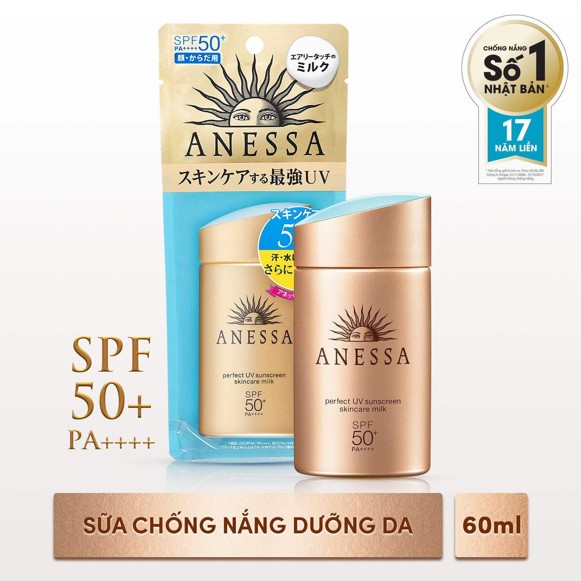 Kem Chống Nắng Anessa Perfect UV Sunscreen Skincare Milk Spf 50+ Pa++++ 60ml