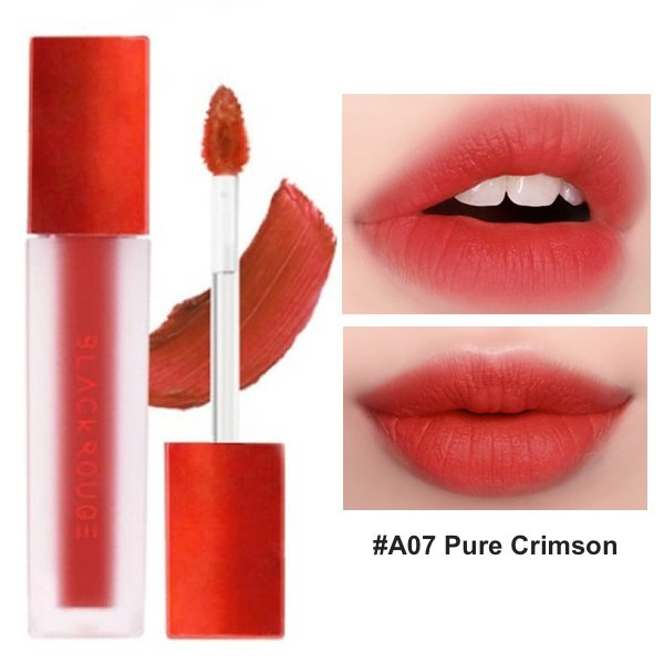 Son Kem Lì Black Rouge Air Fit Velvet Tint A07 Pure Crimson - Đỏ Cam Đào