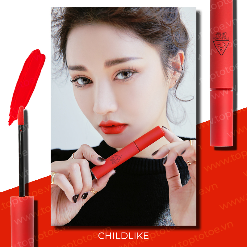 Son Kem Lì 3ce Velvet Lip Tint Childlike đỏ Cam