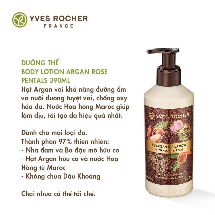 Sữa Dưỡng Thể Yves Rocher Argan Rose Petals Hammam Body Lotion 390ml