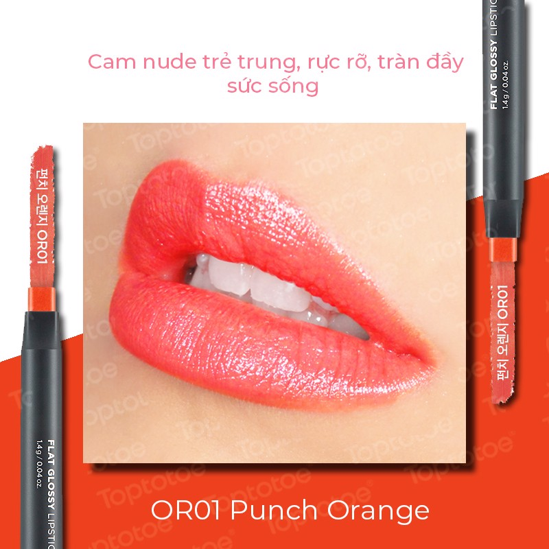 Thefaceshop Flat Glossy Lipstick 1.4g - OR01 Punch Orange