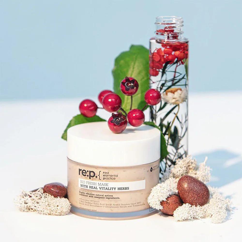 Mặt Nạ Đất Sét Hoa Hồng Se Lỗ Chân Lông, Dưỡng Sáng Re:p Bio Fresh Mask With Real Vitality Herbs 130g