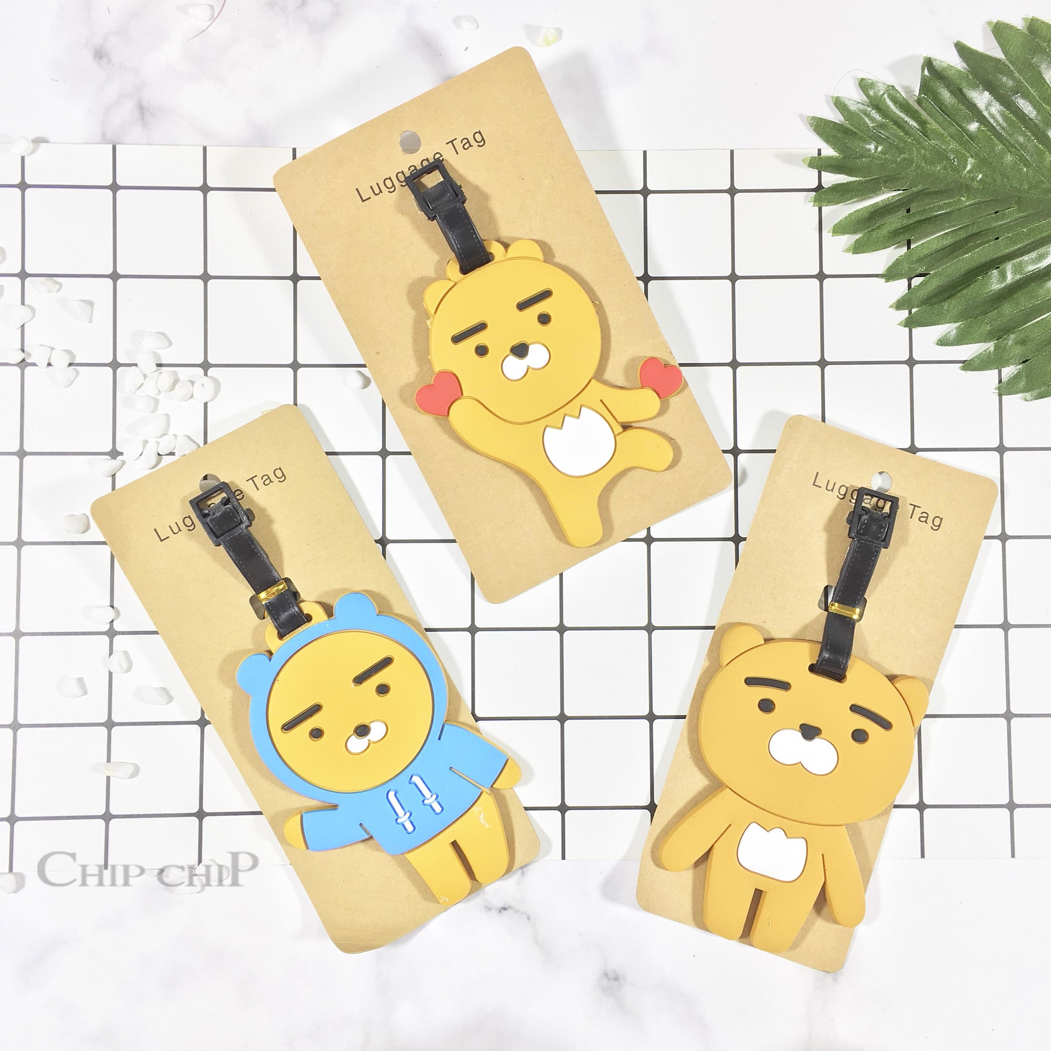 Name tag gấu line tim