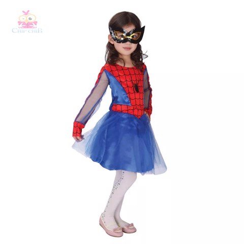 Váy spiderman girl halloween costume chip chip