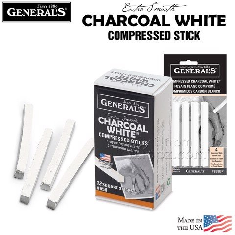 Chì than thỏi General's Compressed Charcoal, White
