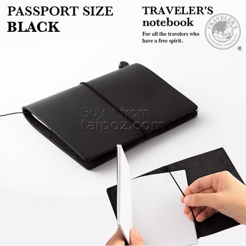 Sổ da Midori Traveler's Notebook - passport size - Black