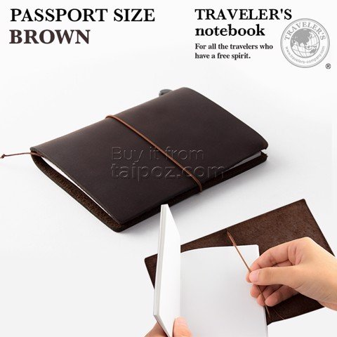 Sổ da Midori Traveler's Notebook - passport size - Brown