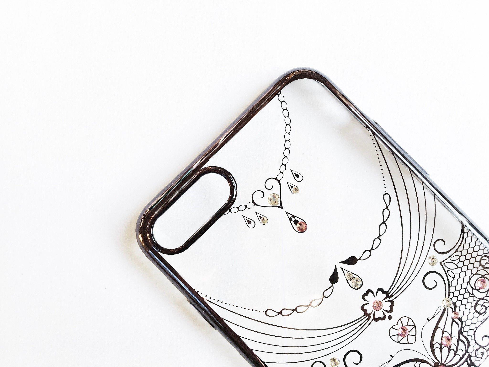 Ốp lưng iPhone 8 / iPhone 7 Tuxedo Crystal đính đá Swarovski in hình Đôi cánh đen